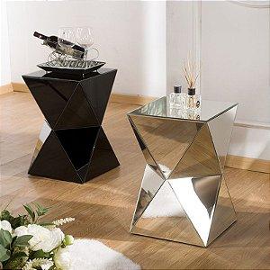 Mesa de Centro Munique Espelhada e Vidro Pintado