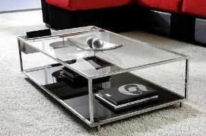 Mesa Centro Onix Aço Inox-com Vidro /espelho-design Moderno