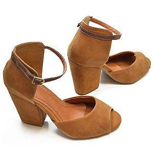 Sandálias  Salto Bloco Caramelo