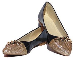Sapatilha Bico Fino Yasmin V Shoes Azul Marinho