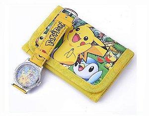 Relógio Infantil Analógico Pokemon Pikachú + Carteira Brinde