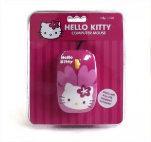 Mouse Óptico Usb Da Hello Kitty, Cor Rosa
