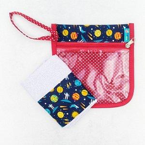 Organizador Kit higiene escolar estampa Espacial