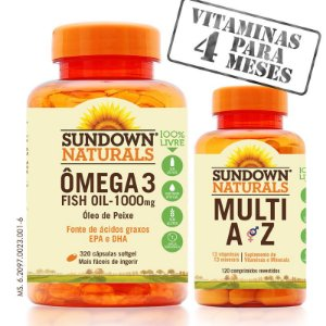 KIT - Fish Oil 1000mg (Óleo de Peixe) 320 Cápsulas + Multi AZ (Multivitamínico) 120 cápsulas
