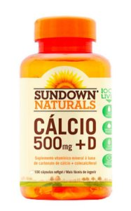 Cálcio 500mg + D (100 Cápsulas) - Sundown