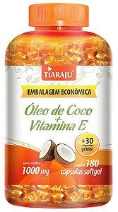 Óleo de Coco + Vitamina E 1000 mg (180 Cápsulas) - Tiaraju