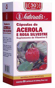 Acerola e Rosa Silvestre (Alto teor de Vitamina C) - 80 Cápsulas - Naturalis
