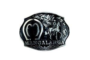 Fivela Country   Mangalarga Preta com Ferradura e Cavalo em Alto Relevo
