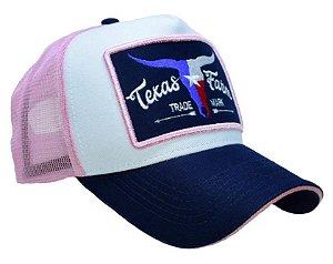 Boné Country Texas Farm   Touro  Rosa