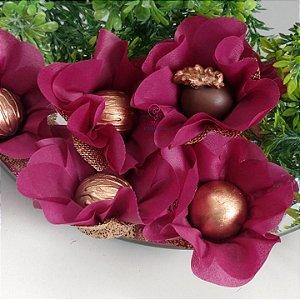 25 Forminhas Flor Primavera Marsala - F016
