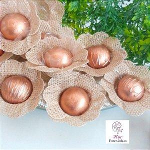 50 Forminhas Rustica Tradicional Flor Pessego - F013