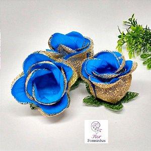 100 Forminhas para doces Flor Botão Rosa Azul Turquesa - F043
