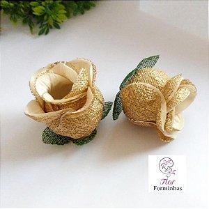 25 Forminhas para doces Flor Botão Rosa D -Marfim  - F043