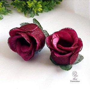 25 Forminhas para doces Flor Botão Rosa -Marsala com Vinho - F044