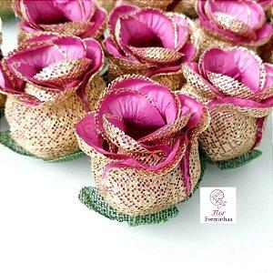 100 Forminhas para doces Flor Botão Rosa Vinho com Dourado - F043