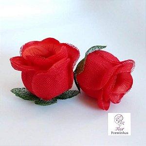 25 Forminhas para doces Flor Botão Rosa - Vermelho - F044