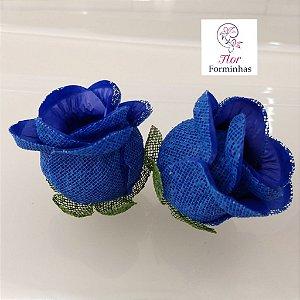 25 Forminhas para doces Flor Botão Rosa - Azul Royal - F044