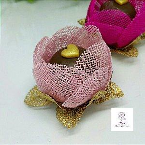 12 Formas para doces - Botão Camelia Rosa Bebe - F018