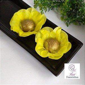 50 Forminhas Flor Primavera Papel Amarelo- F012