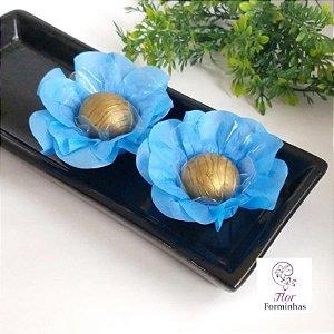 50 Forminhas Flor Primavera Papel Azul Claro- F012