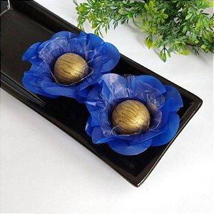 50 Forminhas Flor Primavera Papel Azul Escuro- F012