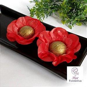 50 Forminhas Flor Primavera Papel Vermelho- F012