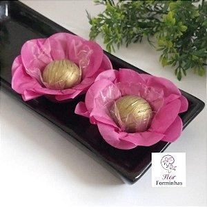 50 Forminhas Flor Primavera Papel Vinho- F012