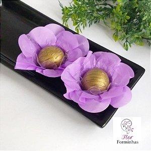 50 Forminhas Flor Primavera Papel Lilas- F012