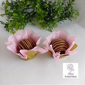 50 Forminhas Flor Primavera G Rosa Bebe com Dourado- F037