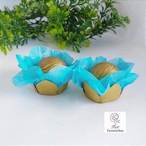 50 Forminhas Flor Primavera em Papel Base Dourada Tifany - F041