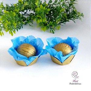 50 Forminhas Flor Primavera em Papel Base Dourada Turqueza - F041