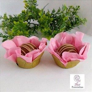 50 Forminhas Flor Primavera Base Dourada G Rosa Cha- F037