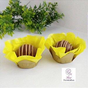 50 Forminhas Flor Primavera Base Dourada G Amarelo- F037