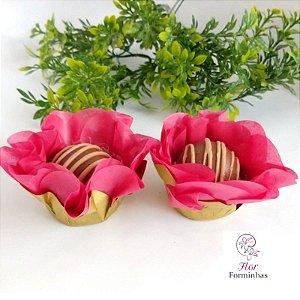 50 Forminhas Flor Primavera Base Dourada G Goiaba- F037