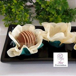 50 Forminhas Flor Primavera G Marfim - F038