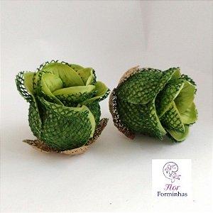 25 Forminhas para doces Flor Botão Rosa Rústico Verde Floresta - F045