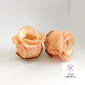 25 Forminhas para doces Flor Botão Rosa Rústico Rosa Nude - F045