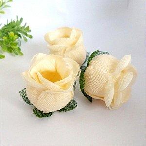 25 Forminhas para doces Flor Botão Rosa - Marfim  F044