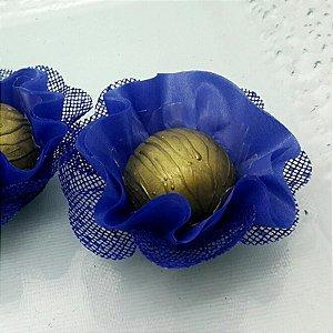 25 Forminhas Flor Pêssego em Tafeta Azul Escuro - F015