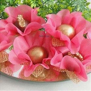 25 Forminhas Flor Primavera Rosa Goiaba II - F016