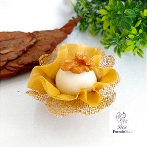 25 Forminhas Flor Pêssego em Tafeta Caramelo F015