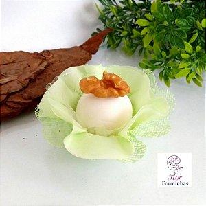 25 Forminhas Flor Pêssego em Tafeta Verde Claro/Menta F015