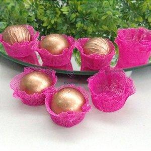 50 Forminhas Cestinha Pink F026