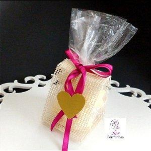 25 Porta Lembrancinha em Tela Rustica Marfim laço Pink- B005