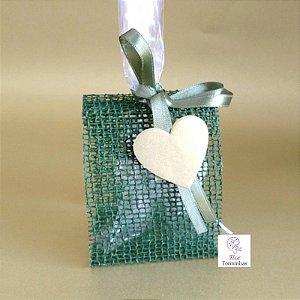 25 Porta Lembrancinha em Tela Rustica Verde laço Verde- B005