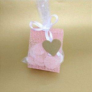 25 Porta Lembrancinha em Tela Rustica Rosa Nude Laço Branco- B005