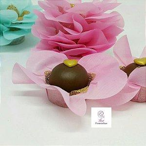 50 Forminhas Primavera Tafeta Rosa Cha- F005