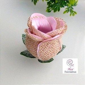 25 Forminhas para doces Flor Botão Rosa Rústico em Juta Rosa bb - F055
