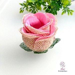 25 Forminhas para doces Flor Botão Rosa Rústico -Rosa Chá - F055