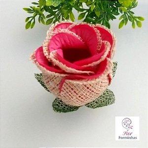 25 Forminhas para doces Flor Botão Rosa Rústico em Juta Rosa Goiaba - F055
